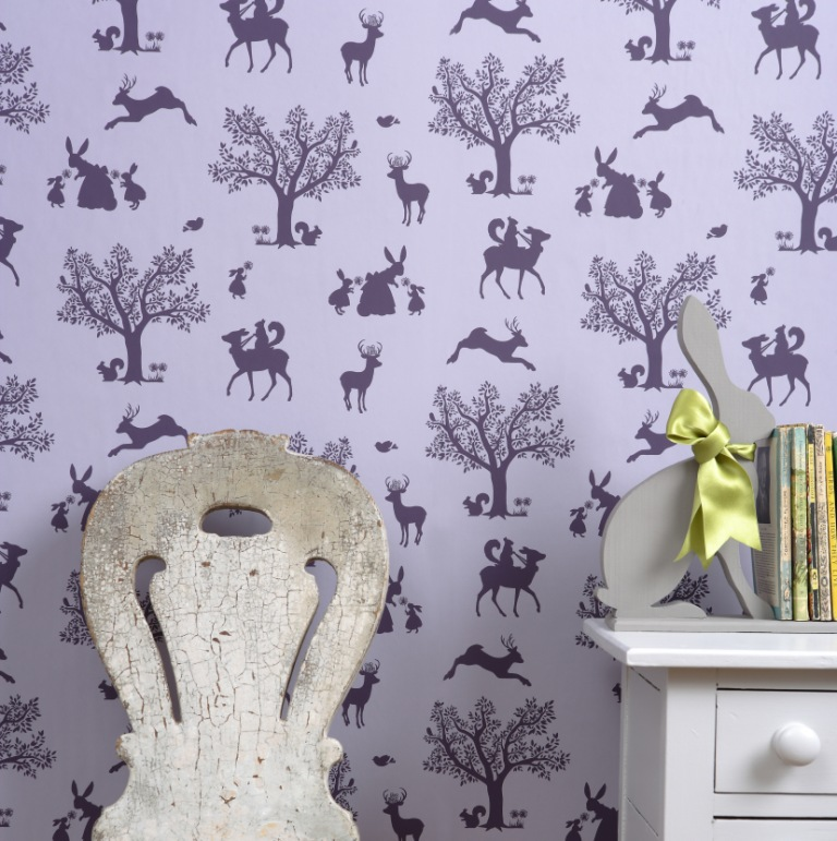Hibou Home_Enchanted Wood wallpaper_HH00101_Lilac_Aubergine_lifestyle