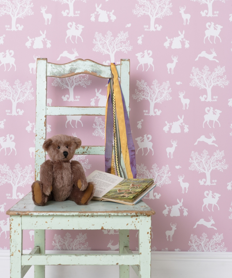 Hibou Home_Enchanted Wood wallpaper_HH00103_Peony Pink_White_lifestyle