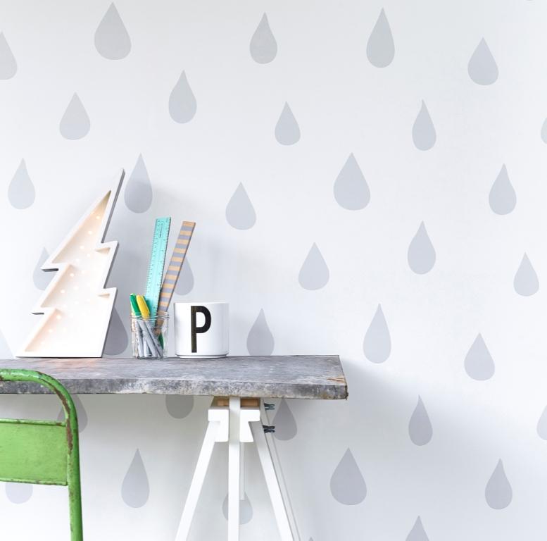 Hibou Home_Raindrops wallpaper_HH01101_Silver_b