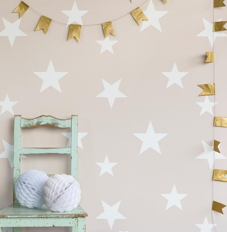 Hibou Home_Stars wallpaper_Blush_HH00801
