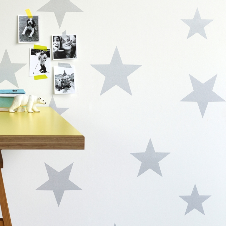 Hibou Home_Stars wallpaper_Silver_HH00802