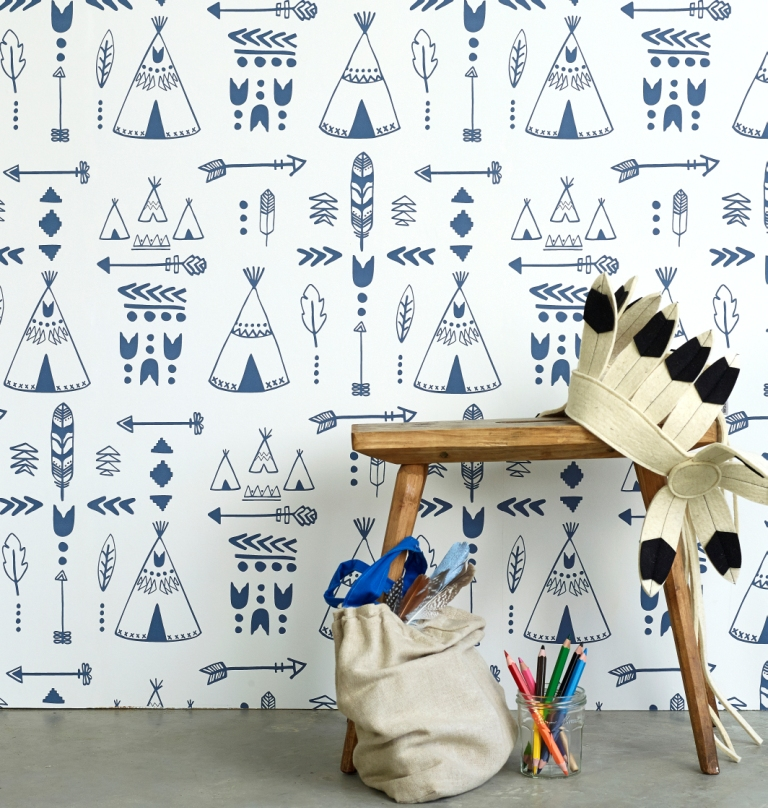 Hibou Home_Teepees wallpaper_Indigo & White_HH01002