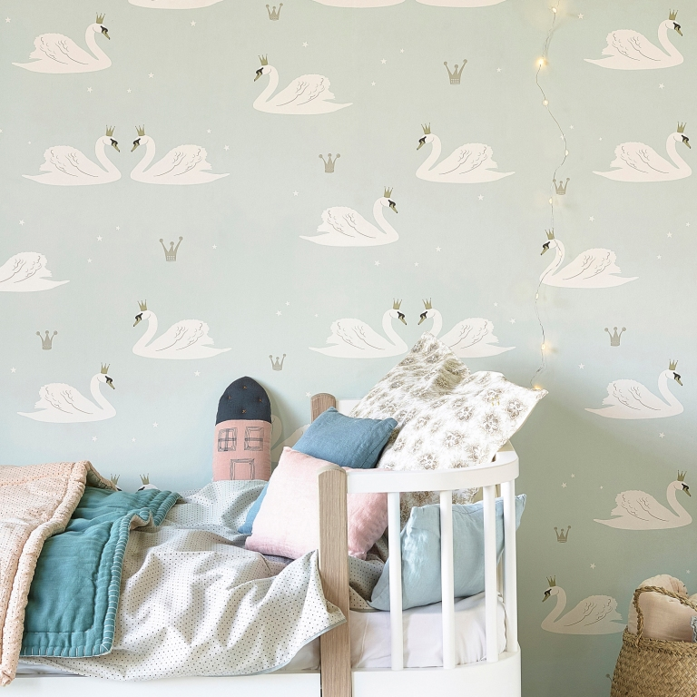 Hibou_Home_Swans wallpaper_Mint_HH01302_a