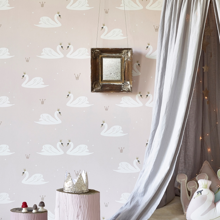 Hibou_Home_Swans wallpaper_Pale Rose_HH01301_a