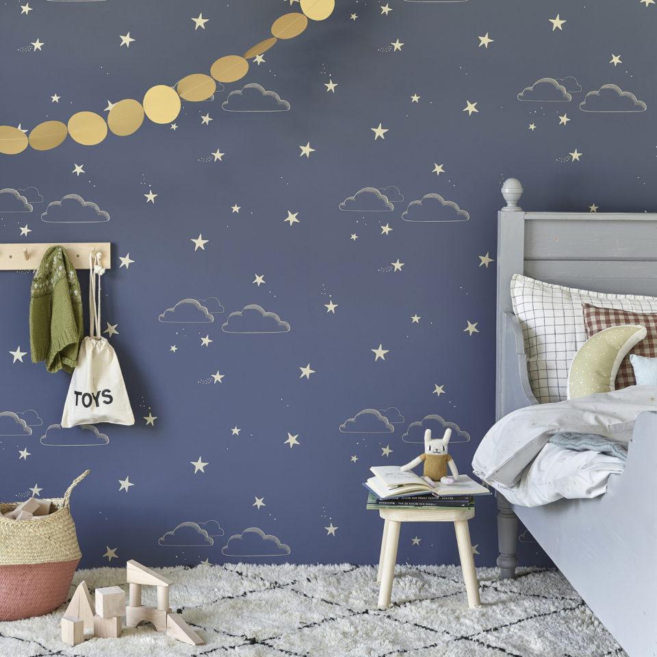 Hibou Home_Starry Sky wallpaper_HH01203_Indigo & Gold_lifestyle image 1